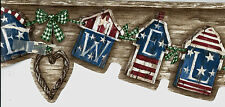 Country American Flag House Welcome Swag Sculptured WALLPAPER BORDER