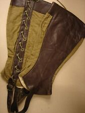 Original WW1 US Army CAVALRY Custom Leather Lined Mounted Leggings-NOS