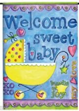 EVERGREEN WELCOME SWEET BABY   MINI  GARDEN  FLAG with FREE SHIPPING