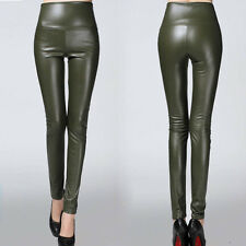 24 Colors Winter Women High Waist Slim Faux Leather Pants Warm Leggings Trousers
