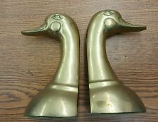 Vintage Pair Solid Brass Duck Head Bookends Price Products