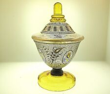 LUDWIG MOSER ANTIQUE ART GLASS COVERED CANDY DISH WITH EXCEPTIONAL HP DECORATION