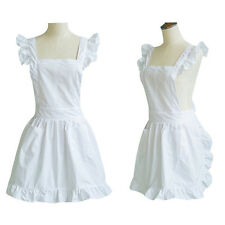 Sexy Women White Princess Ruffles Apron Kitchen Cooking Japanese Maid Homewear