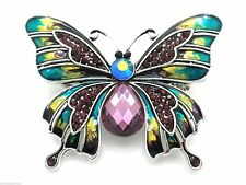 Clear Austrian Crystal Butterfly Brooch Silver Plated Pin