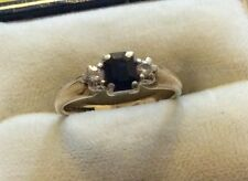 Beautiful Ladies Full Hallmarked Vintage 9ct Gold Diamond & Sapphire Ring
