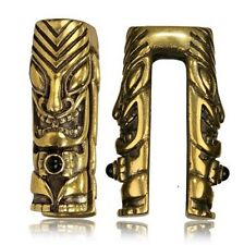 BRASS EAR WEIGHTS 00g (10mm) TIKI STATUE ONYX PLUGS EARRINGS GAUGE PLUG GAUGES