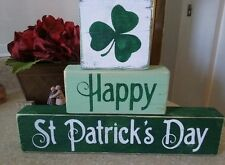 Primitive Sign Happy St Patrick's Day Shamrock Wooden Shelf Blocks Irish