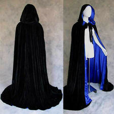 Lined Black Blue Velvet Cosplay Cloak Cape Wedding Wicca SCA Star Wars LARP