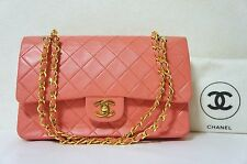 CHANEL Salmon Pink Lambskin Leather Classic Double Flap 2.55 Shoulder Bag N268