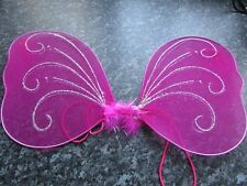 ROSA PICCOLA FARFALLA fata tessuto Wings Glitter ELASTICO Kids GALLINA FANCY DRESS