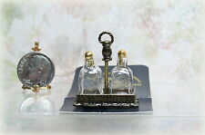 Dollhouse Miniature Reutter Glass Brandy Decanters in Metal Holder