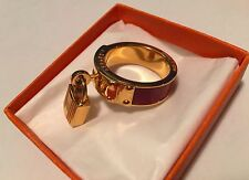 Hermes Scarf Ring Crocodile Rouge Gold Cadena Kelly Ring Authentic HERMES