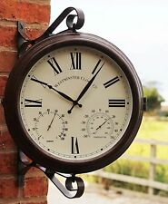 Outdoor Garden Double Side Station Steam Punk Bracket Clock temp & Humidity 52cm
