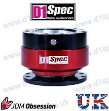 D1 SPEC UNIVERSAL RACING STEERING WHEEL QUICK-RELEASE BLACK/RED JDM DRIFT RALLY