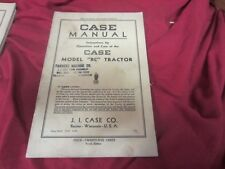 1939 CASE RC MODEL SERIES TRACTOR OPERATORS OWNERS MANUAL 4TH Edition AS IS  D86