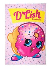OFFICIAL NEW SHOPKINS BLANKET D'LISH DONUT GIRLS PINK CHILDRENS FLEECE BLANKET