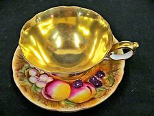 OCCUPIED JAPAN TEA CUP AND SAUCER ORCHARD FRUITS & GOLD PATTERN TEACUP