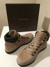 New Gucci Men's Beige Contrast High Top Athletic Trekking Sneakers US SZ  9  ❤️