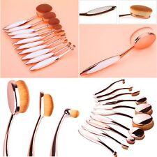 10 Pz Pro Ovale Spazzola Pennelli Fondazione Make-Up Cosmetic Brush Trucco Set