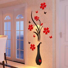 DIY Vase Flower Tree Crystal Arcylic 3D Wall Stickers Decal Home Decor HOTk