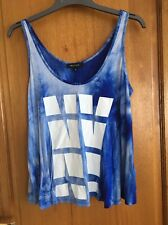 New Look Blue Tie Dye Vest Top Size 12 With NY Print