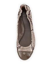 NIB Tory Burch York Snake Print Ballet Flat Shoe Sz 7.5 M Back / White Multi