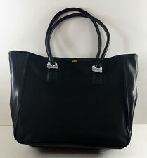 Crabtree & Evelyn Black Jacquard Fabric Accented Tote Bag with Faux Leather