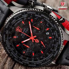 DETOMASO FIRENZE MENS XXL 48 CHRONOGRAPH WATCH BLACK S-STEEL RED NEW RRP £159