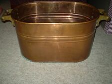 Vintage Antique Riding Revere Ware Copper Boiler Wash Tub Wood Handles Primitive