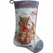 Cross Stitch Kit ~ Plaid / Bucilla Olde World Santa Christmas Stocking #86660