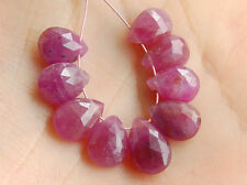 Natural Pink Sapphire Faceted Pear Briolette Gemstone Beads 014