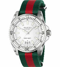 OROLOGIO UOMO GUCCI XL DIVE MAN WATCH YA136207 nato strap nylon verde SWISS made