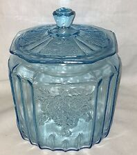 Anchor Hocking MAYFAIR/OPEN ROSE BLUE  *COOKIE JAR w/LID*
