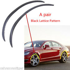2pcs Black Lattice Pattern Car Fender Flares Arch Wheel Eyebrow Strip Protector
