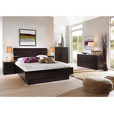 4 piece queen bedroom furniture set headboard bed platform chest nightstand new bed furniture image