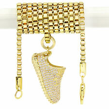 "Mens 14k Gold Plated Yeezy Shoes 350 YZY Cz Pendant Hip-Hop 2.4mm 30"" Box Chain"
