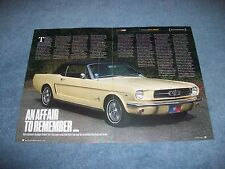 "1964-1/2 Mustang Convertible Article ""An Affair to Remember..."" 1965"