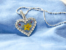 HAND MADE JEWELLERY, REAL FLOWERS  PENDANT-(HEART)