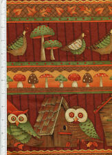 debbie mumm ~ FALL FOREST~ fabric linear owl quail mushrooms house leaves autumn