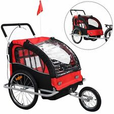 Bicycle Carrier Jogger Stroller 2 in 1 Double Child Baby Bike Trailer Red NEW