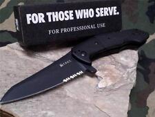 CRKT Eraser Black Tactical Black Folding Knife LAWKS Liong Mah Tanto Folder