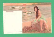VINTAGE RISQUE BATHING BEAUTY POSTCARD SEA RESORT SCHEVENINGEN BEACH ROCK SUN