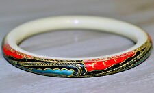 Vintage 1920 Oriental slave bangle painted celluloid early plastic