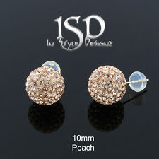 14k Gold 10mm Women's Swarovski Elements Peach Crystal Disco Ball Studs Earrings