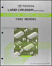 1992 Toyota Land Cruiser Wiring Diagram Manual Original NEW Electrical Schematic