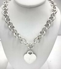 TIFFANY & CO HEART TAG CHARM NECKLACE .925 Sterling Silver *WEIGHT 67.9 grams*