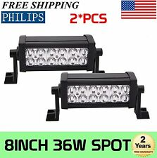 Philips 2X 8Inch 36W Spot Led Work Light Bar SUV 4x4 Jeep Ute Driving Boat IP67