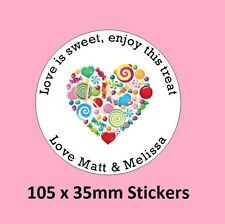 105 Personalised Round Wedding Stickers/Labels Envelopes Seals Heart Ring.