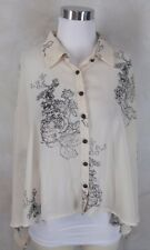 Vila Blouse Top Large Swing Beige Black Printed Sheer Hi Lo Hem