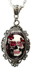 Skull & Roses Cameo Pendant Necklace By Alkemie Artistry